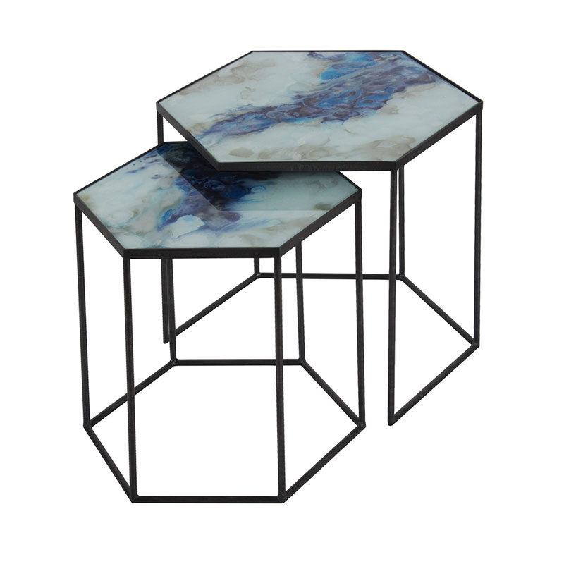 Ethnicraft Cobalt Hexagon Side Table Set by Olson and Baker - Designer & Contemporary Sofas, Furniture - Olson and Baker showcases original designs from authentic, designer brands. Buy contemporary furniture, lighting, storage, sofas & chairs at Olson + Baker.