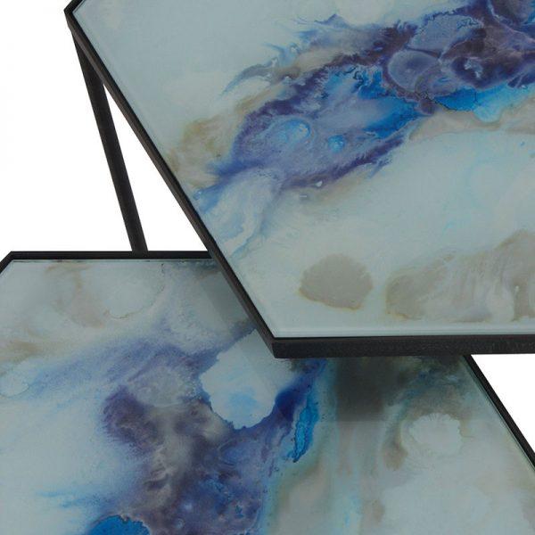 Cobalt Hexagon Side Table Set