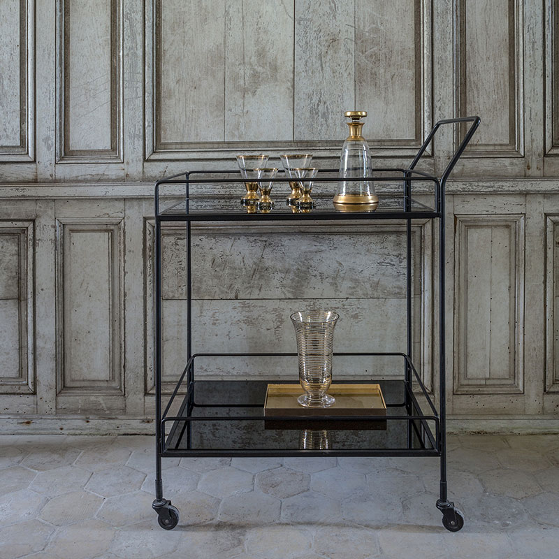 Ethnicraft_Dixon_Bar_Cart_by_Dawn_Sweitzer_Charcoal_4 Olson and Baker - Designer & Contemporary Sofas, Furniture - Olson and Baker showcases original designs from authentic, designer brands. Buy contemporary furniture, lighting, storage, sofas & chairs at Olson + Baker.