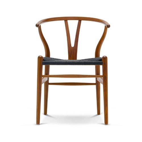 Lacquered walnut wishbone chair