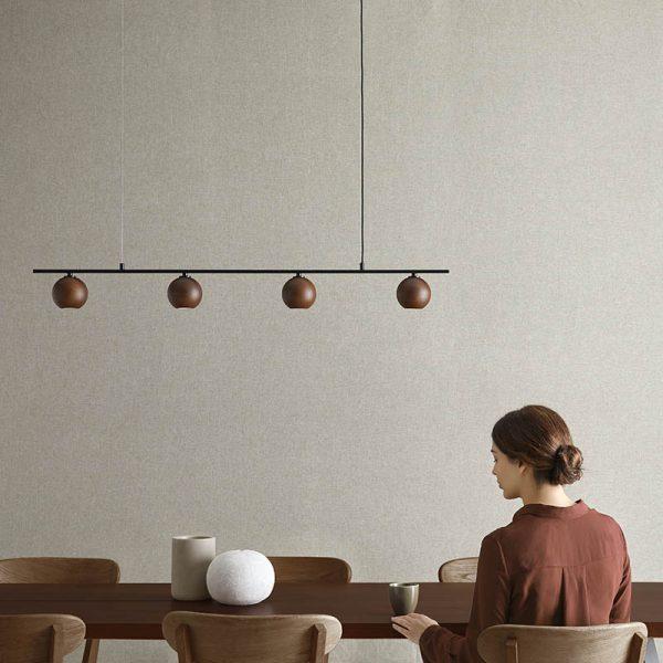 Lita Pendant Lamp in Matt Black and Walnut