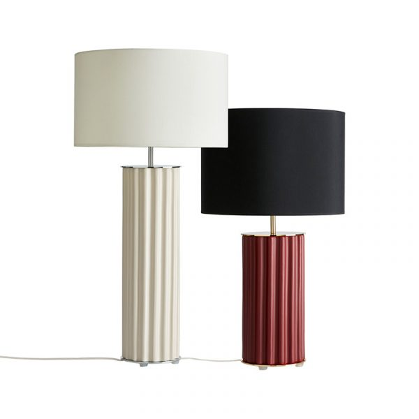 Sonica Table Lamp in Maroon Set of Two