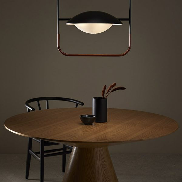 Wong Pendant Lamp in Matt Black and Brown Leather