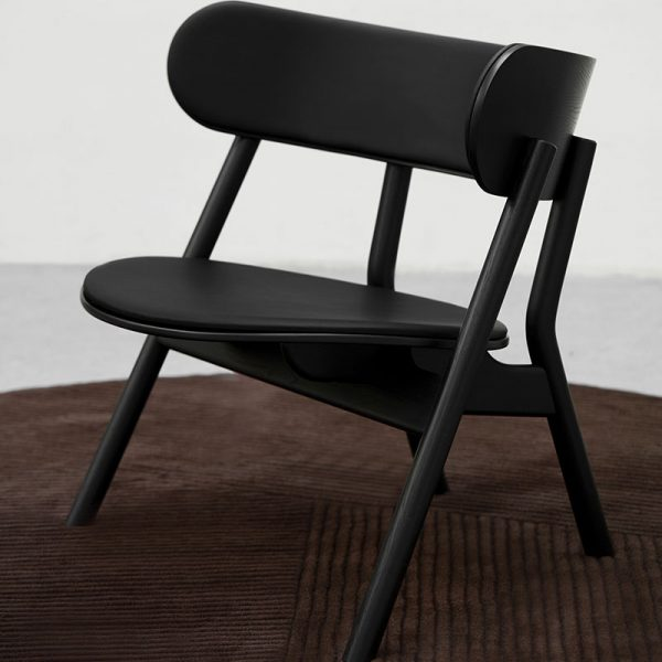 Oaki Lounge Chair in Black Painted Oak with Seat and Back Upholstery