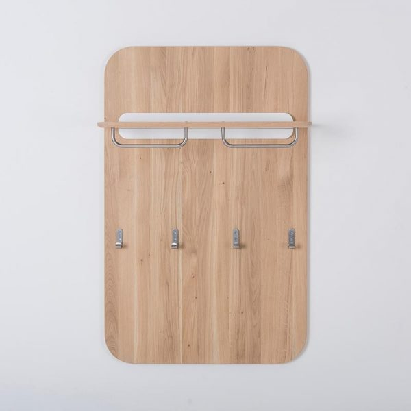 Ena Wall Coat Rack in Solid Oak